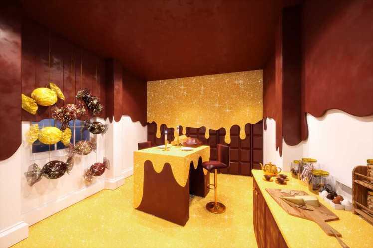廚房是以一顆巨型焦糖巧克力為概念設計,牆壁的部分是巧克力,地板則是焦糖。圖/Bo...