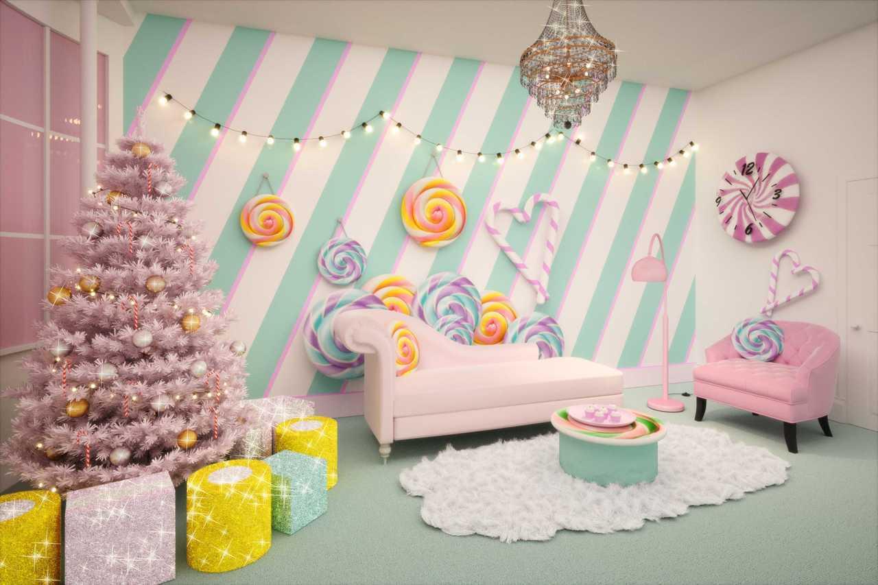 房園內的牆上隨處可見放大版的糖果點心,耶誕樹上則是掛滿拐杖糖和可食用吊飾。圖/B...