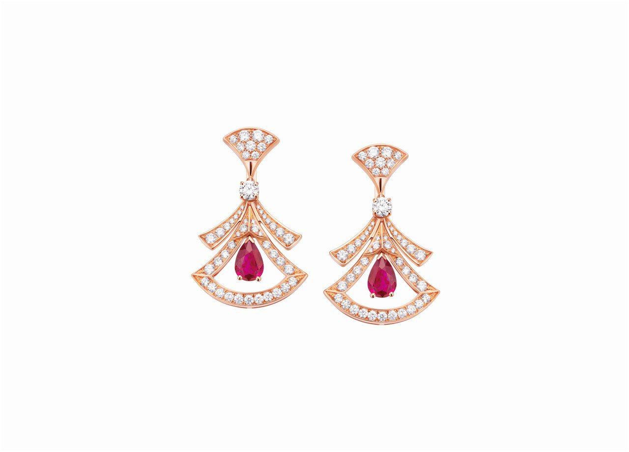 寶格麗Divas Dream系列紅寶石與鑽石耳環,約69萬7,000元。圖/BV...