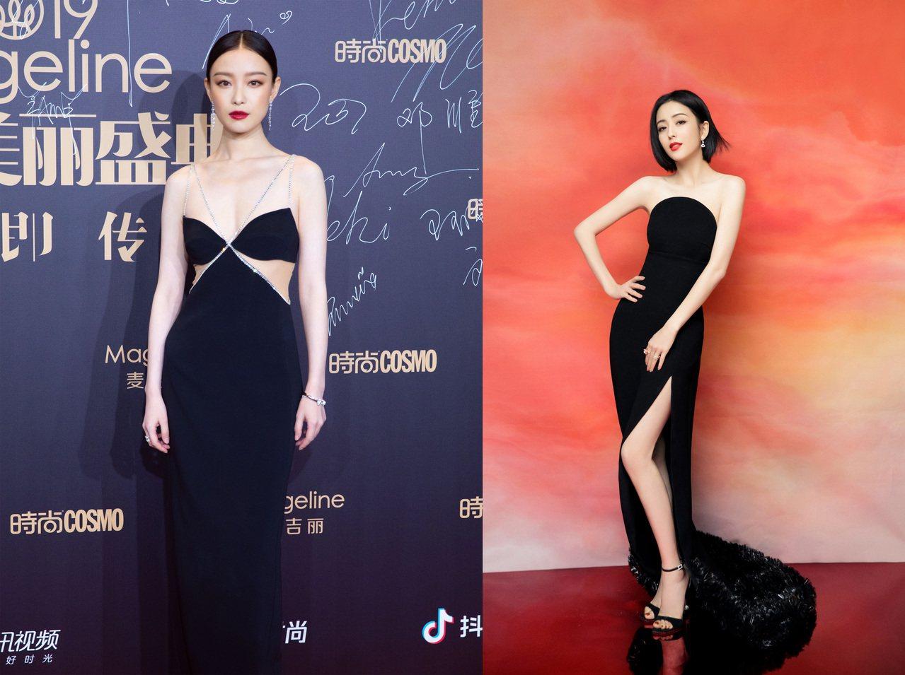 氣質女星倪妮(左)與「新疆女神」佟麗婭同登紅毯比美。圖/摘自微博