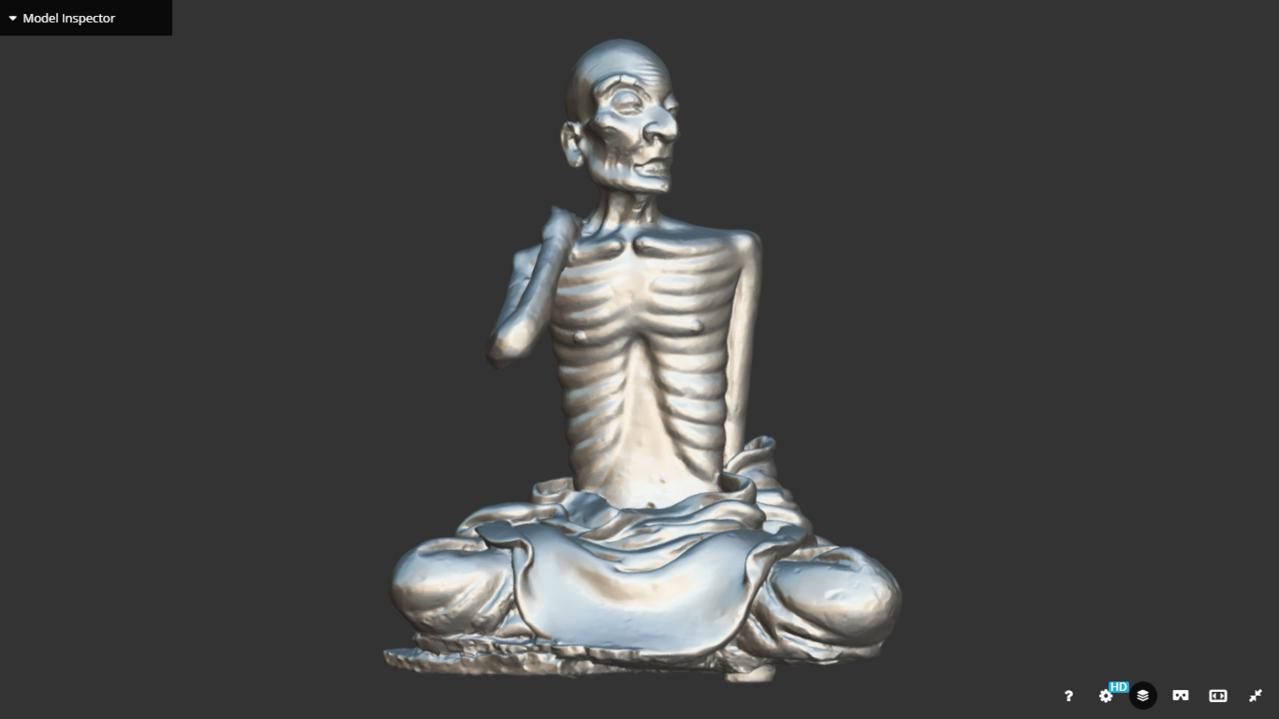 國寶交趾陶「瘦羅漢」3D圖。圖/文資處提供