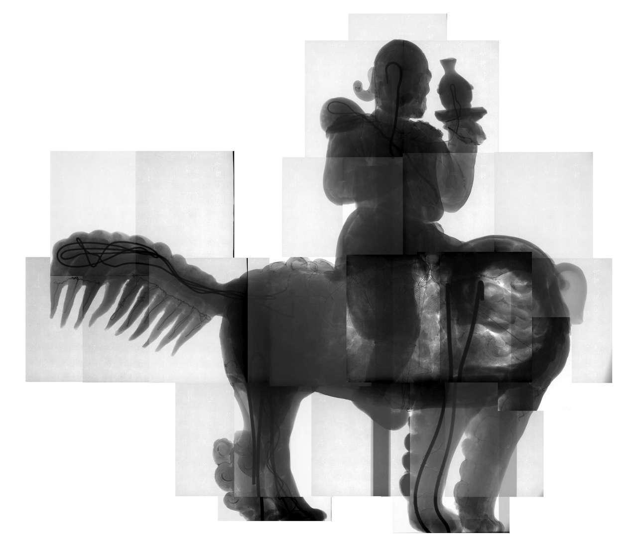 一般古物「胡人獻瑞」有鬚胡人X光圖。圖/文資處提供