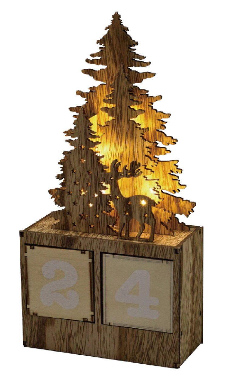 台隆手創館獨家推出木紋桌上日曆擺飾-麋鹿與耶誕樹,原價820元、特價656元。圖...