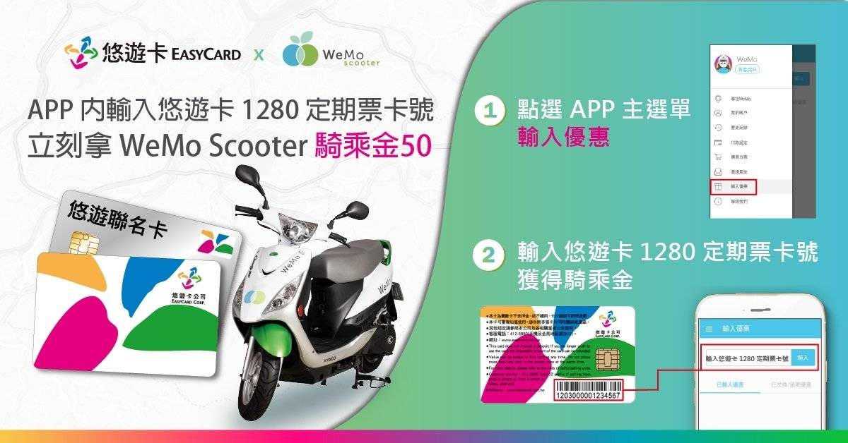 悠遊卡公司與共享機車WeMo Scooter首度攜手合作,今宣布即日起至明年6月...