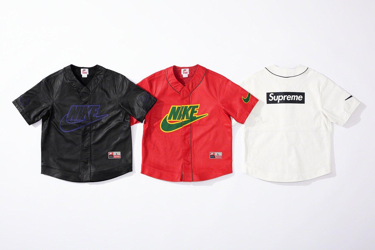 Supreme x Nike 最新聯名系列棒球衣。圖/摘自Supreme官網