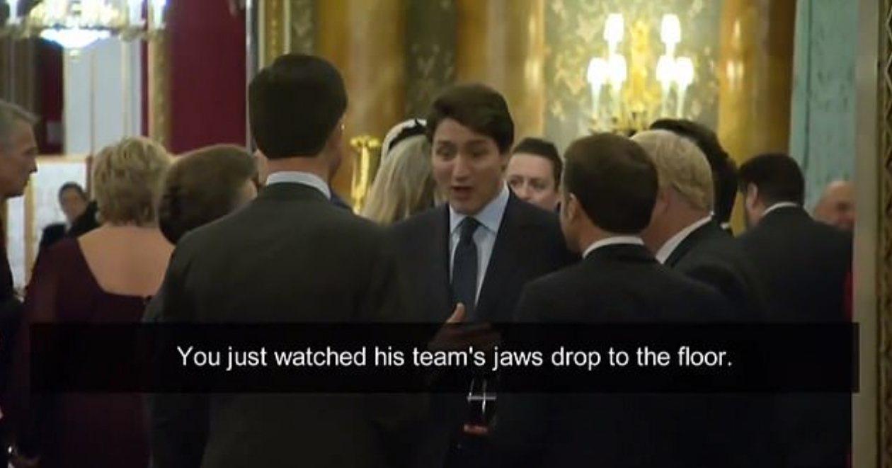 加拿大總理杜魯多、法國總統馬克宏和英國首相強生,3日晚間在英國白金漢宮舉辦的一場...