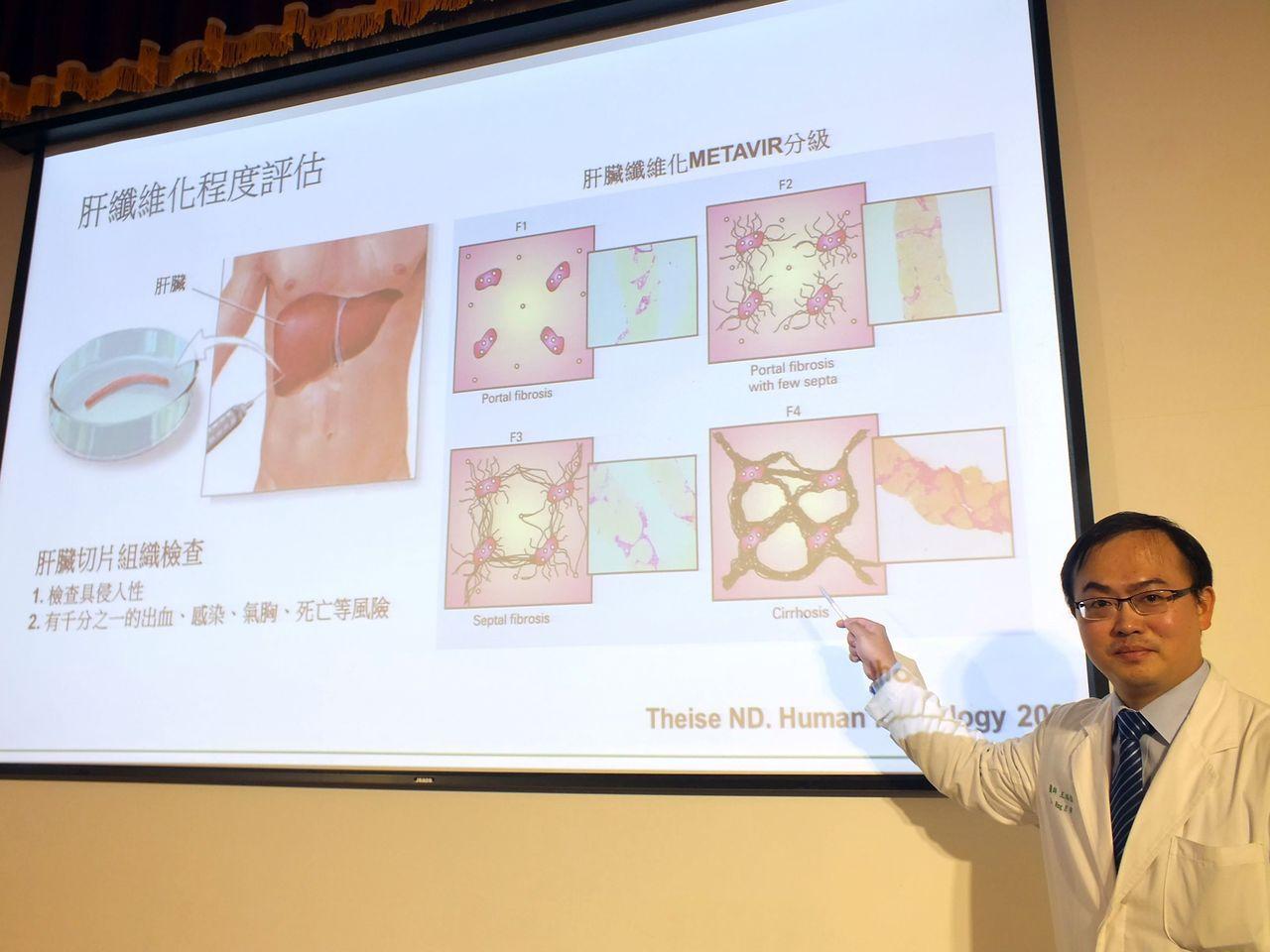 醫師王鴻偉說明,中國醫藥大學附設醫院消化醫學中心醫療團隊最新研究成果,獲美國感染...