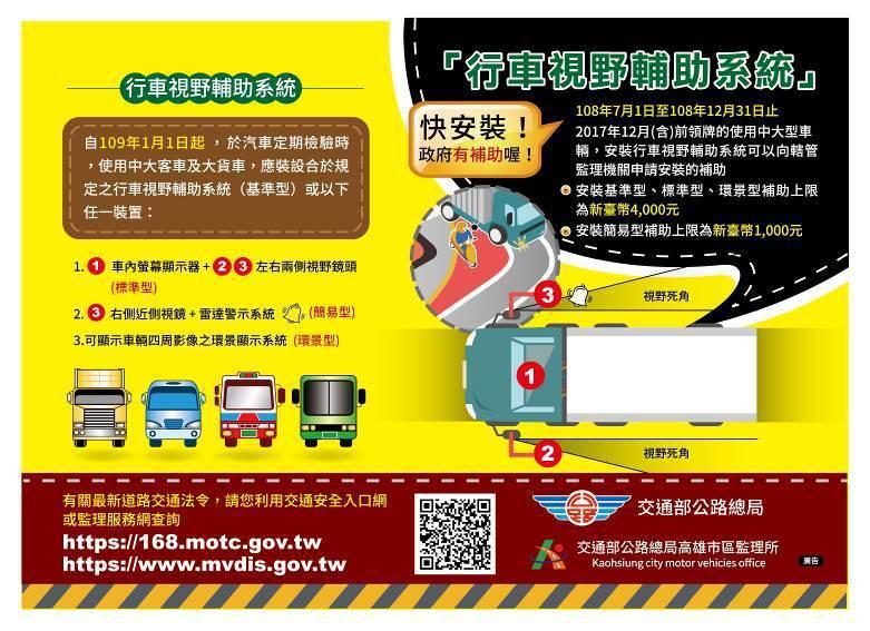 行車視野輔助系統補助截至今年12月31日。圖/交通部提供