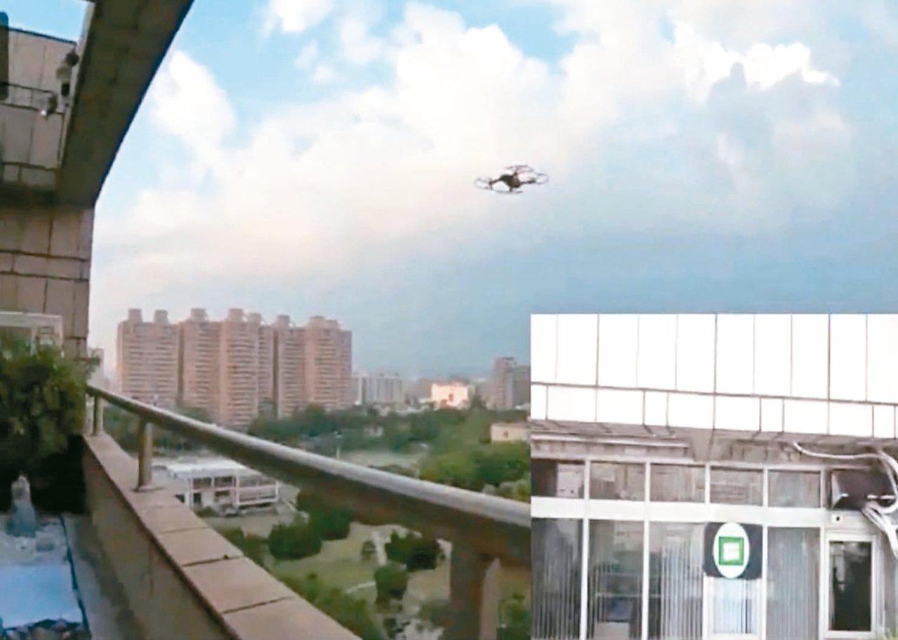 交大使用無人機送公文,減輕人力負擔。小圖為無人機視角。 圖/交大提供