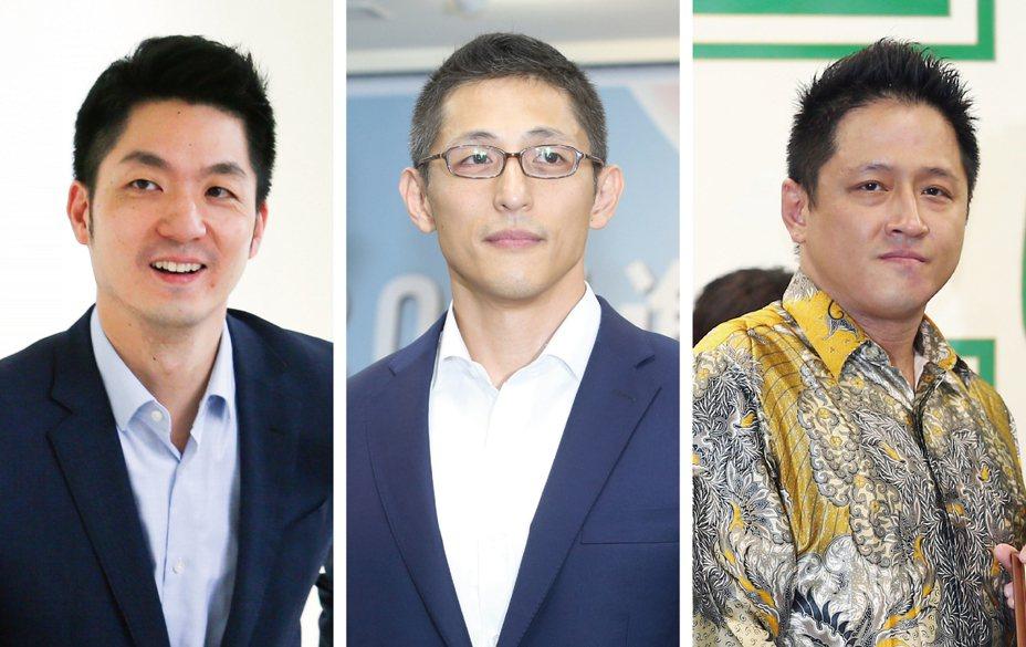 台北市立委選舉第三選區戰雲密布,左起蔣萬安、吳怡農、何景榮。 圖/聯合報系資料照片
