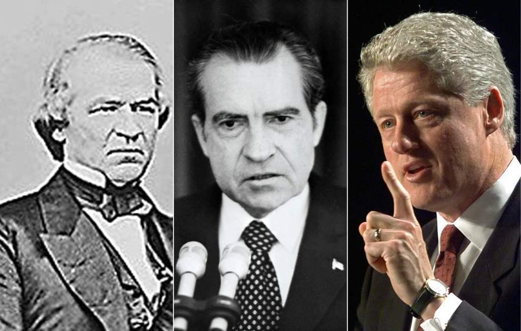 在川普之前遭到彈劾的3位美國總統強森(左起)、尼克森、柯林頓。 (法新社)