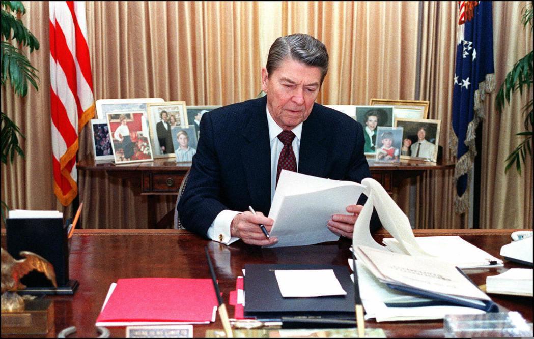 已故美國前總統雷根。 (法新社)