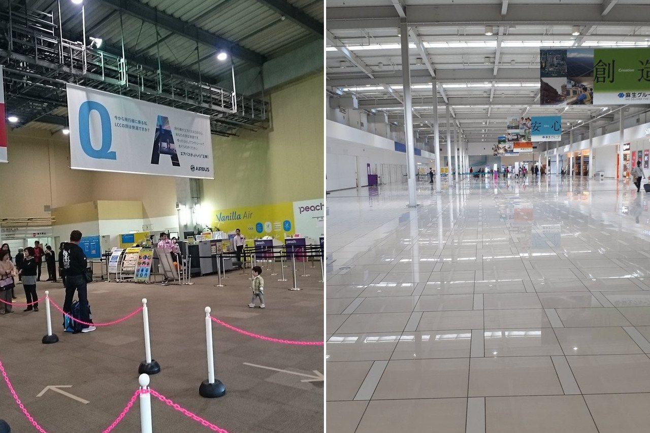 左:那霸機場舊LCC航廈,右:關西機場第二航廈。 圖片來源/twitter@aq...