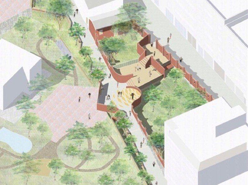 淡水真理街6號前一塊廢棄土地,經市議員鄭宇恩爭取打造一處融入附近社區的美化公園,預計將會在明年六月前完成。 圖/紅樹林有線電視提供