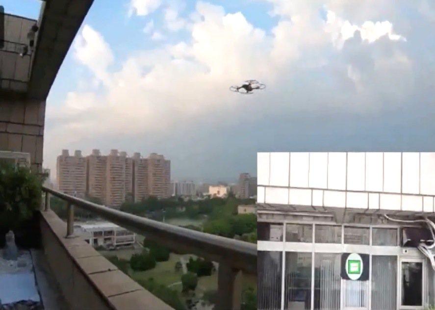 交大使用無人機送件,減輕人力負擔。圖/交大提供