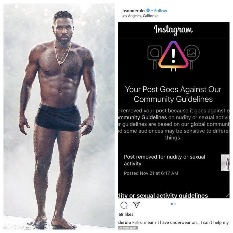 美國男歌手傑森‧德魯羅3日砲轟社群媒體Instagram,以違反「裸體與性行為」守則為由,下架他一張身穿短褲的照片,就因為他的「尺寸太大」;德魯羅認為IG的做法具有歧視。IG/Jason Derulo