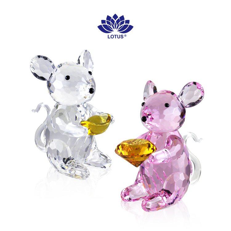 旺代 LOTUS水晶(左起)數來寶/9,600元、粉鑽鼠數/12,000元。圖/...