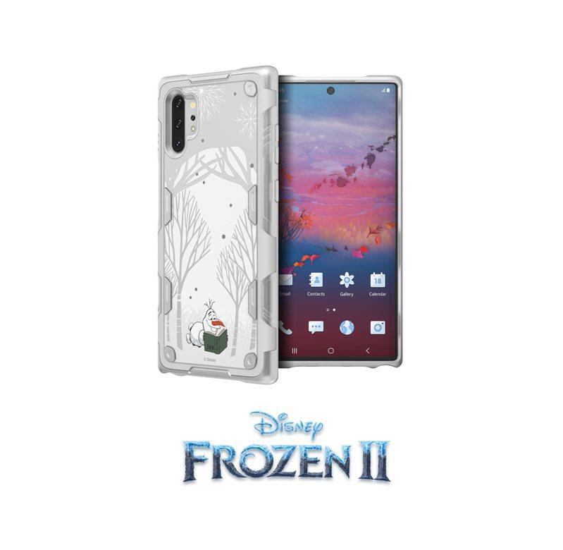 三星Galaxy Note10+冰雪奇緣2智慧背蓋,共有兩款設計,換上即可下載專屬佈景主題。圖/台灣三星電子提供