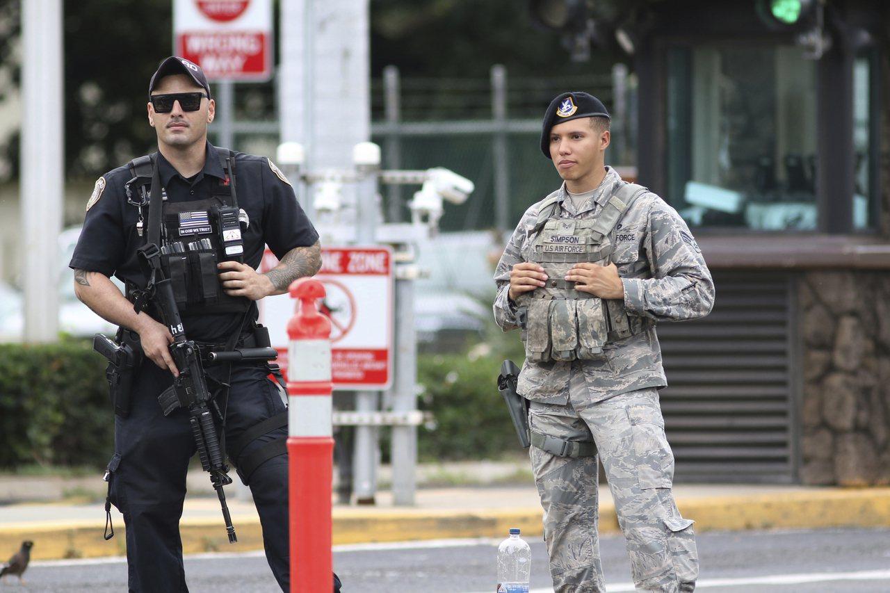 夏威夷的珍珠港-希卡姆聯合基地發生槍擊案。美聯社
