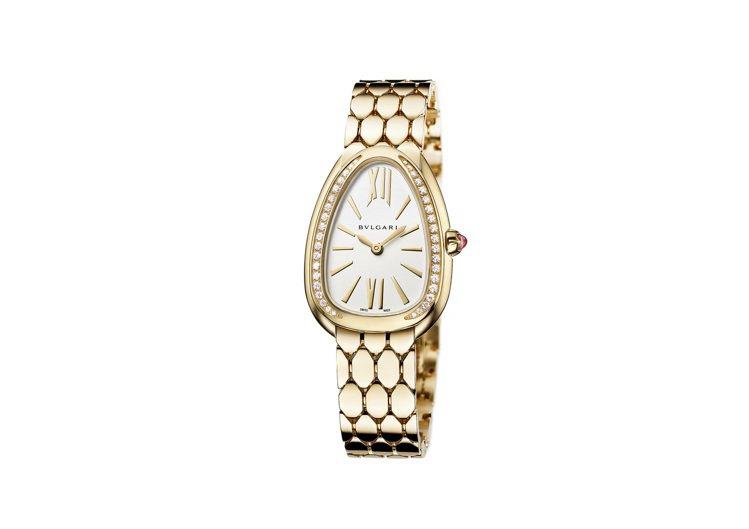 寶格麗Serpenti Seduttori黃K金鑲鑽腕表,約84萬5,000元。...
