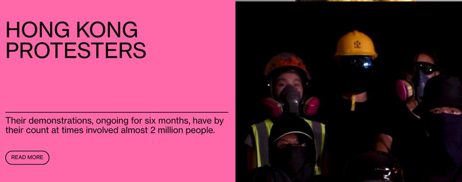 彭博資訊公布2019年「彭博50」(Bloomberg 50)名單,從今年商業、金融、科技、政治和娛樂領域選出最具影響力50人名單,其中,香港示威者上榜,雜誌以戴著黃色頭盔、眼罩、面罩的示威者作為其主要視覺相片。圖/翻攝自彭博網站