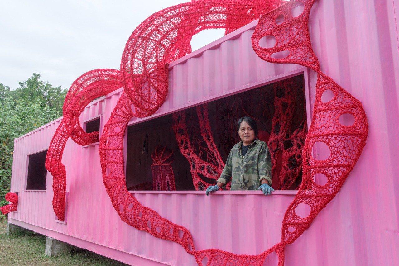 藝術家安聖惠作品《你正在被陷阱嗎?》。記者徐如宜/攝影
