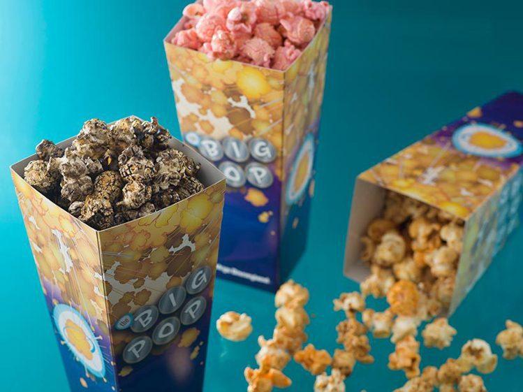 以宇宙為主題的爆米花店,將供應奶油餅乾、焦糖起司、草莓牛奶等3種口味的爆米花。圖...