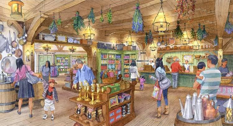以貝兒生活的小鎮所打造的鄉村商店,販售有約100種的週邊商品。圖/擷取自東京迪士...
