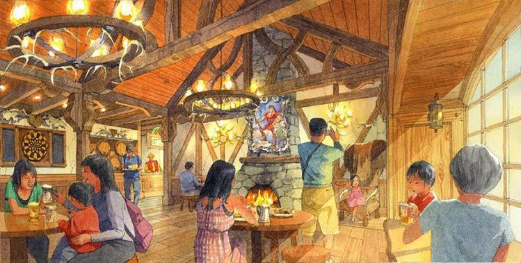 加斯頓酒吧餐廳,是依照電影中的場景重現。圖/擷取自東京迪士尼度假區官網