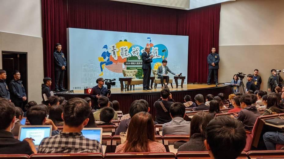 國民黨總統候選人韓國瑜晚間出席「青聽我們說-2020總統大選青年論壇」。記者蔡佩芳/攝影