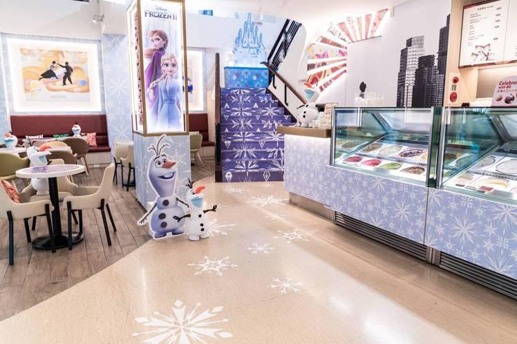 台北敦南旗艦店變身「冰雪奇幻城堡」。圖/哈根達斯提供