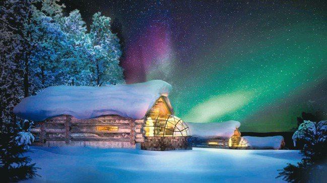極光玻璃屋躺在床上就可見滿天星斗及極光。 圖/行健旅遊提供