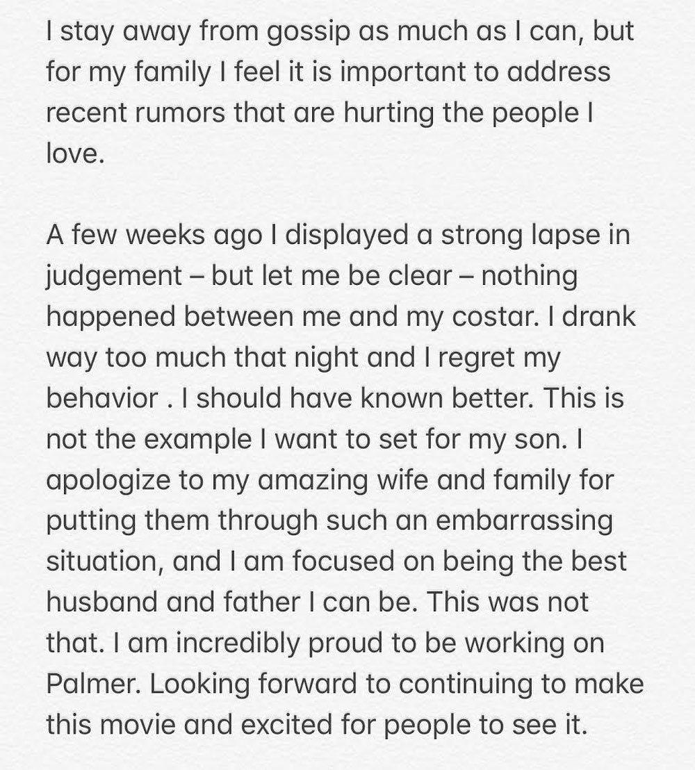 賈斯汀在社群網站上親自回應「出軌」傳聞。圖/摘自Instagram