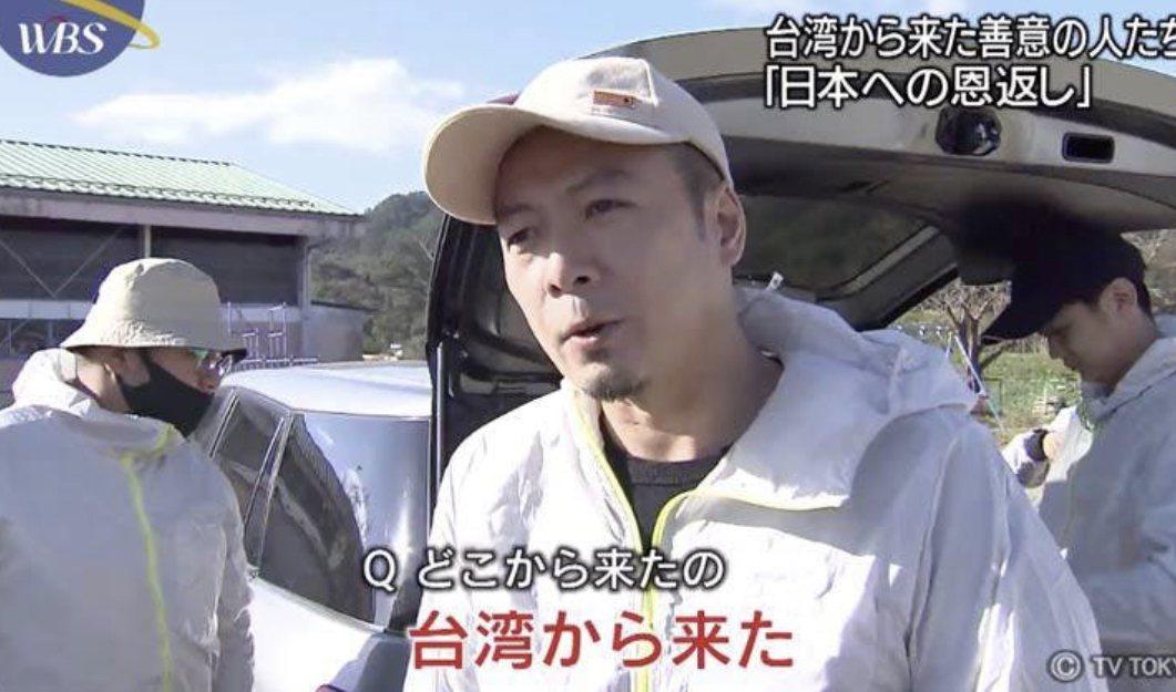 台南人陳一銘上個月前往日本丸森,協助當地水災善後,被日本媒體報導。圖/取自網路