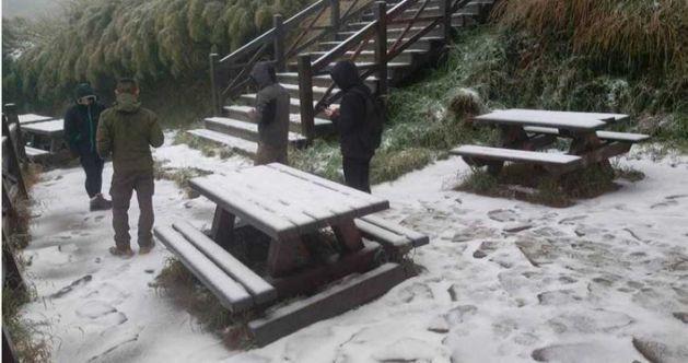 海拔逾3000公尺的雪山369山莊6日降下皚皚白雪,戶外桌椅被白雪覆蓋。圖/翻攝...