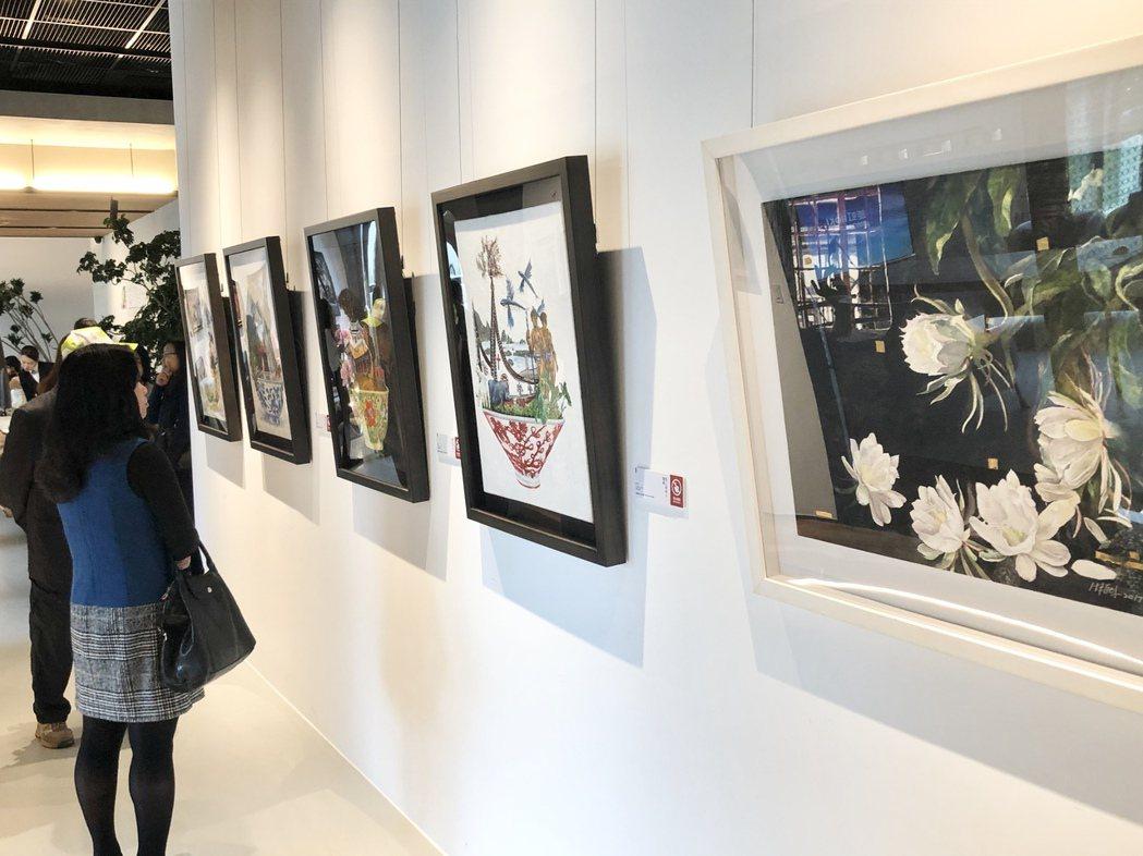 現場共展出46件作品,呼應鉅虹建築與環境的理念,讓展覽與空間相得益彰。記者宋健生...