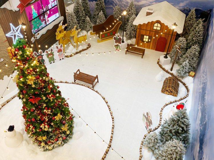 中和環球購物中心耶誕打造「小熊學校耶誕小鎮」。圖/環球購物中心提供