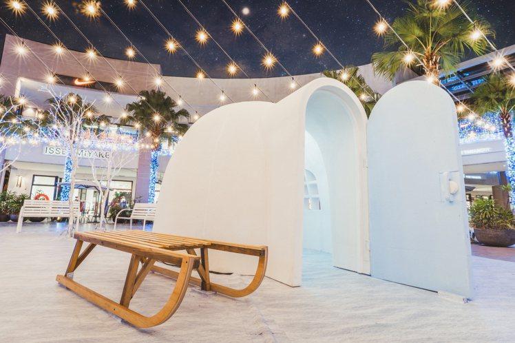 林口三井OUTLET打造冰極雪屋。圖/三井OUTLET提供