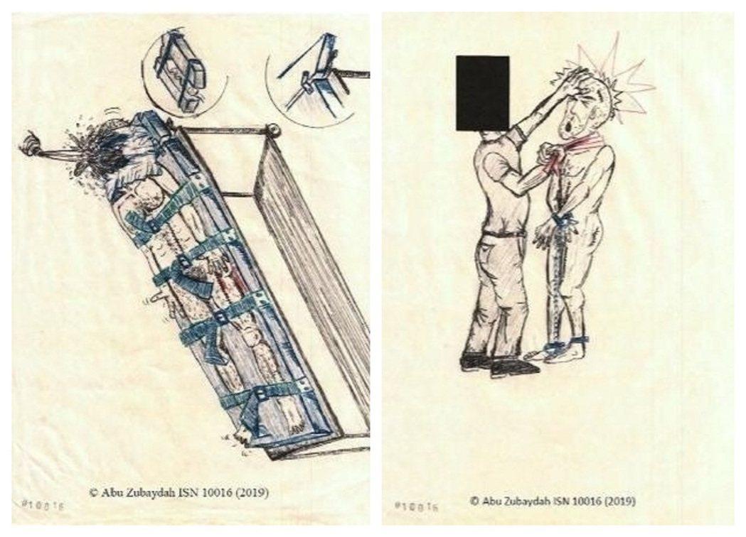 關達那摩灣監獄囚犯朱貝達透過素描,描述他被囚禁於CIA「黑牢」時,遭受的刑求方式...