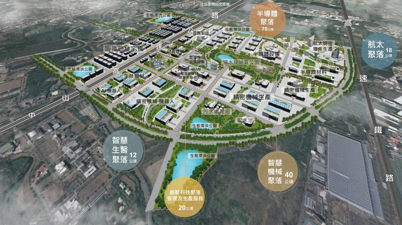 南部科學園區橋頭園區空間模擬意象。 圖/科技部提供