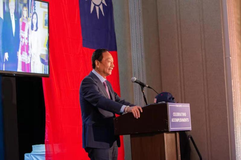 鴻海集團創辦人郭台銘在美國時間6日現身鴻海集團威斯康辛州園區發表談話。圖/鴻海提供