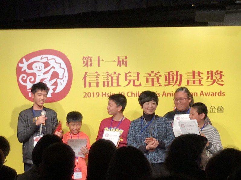 台中龍港國小三至六年級學生作品「呃~」以夜市為主題,獲第11屆信誼基金會兒童動畫獎特優。記者潘乃欣/攝影