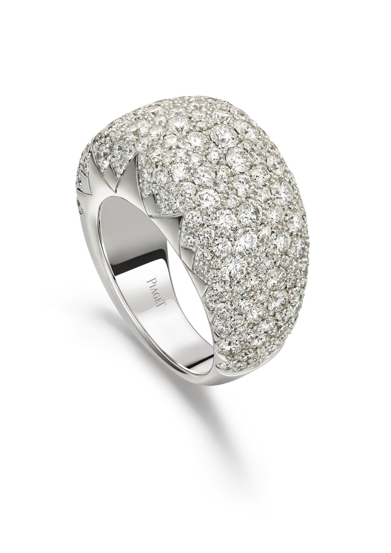 PIAGET Sunlight系列18K白金鑽石戒指,18K白金、250顆圓形明...