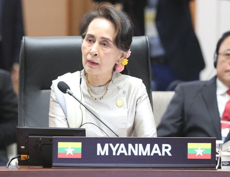 圖為諾貝爾和平獎得主、緬甸文人政府領導人翁山蘇姬(Aung San Suu Kyi)。  歐新社