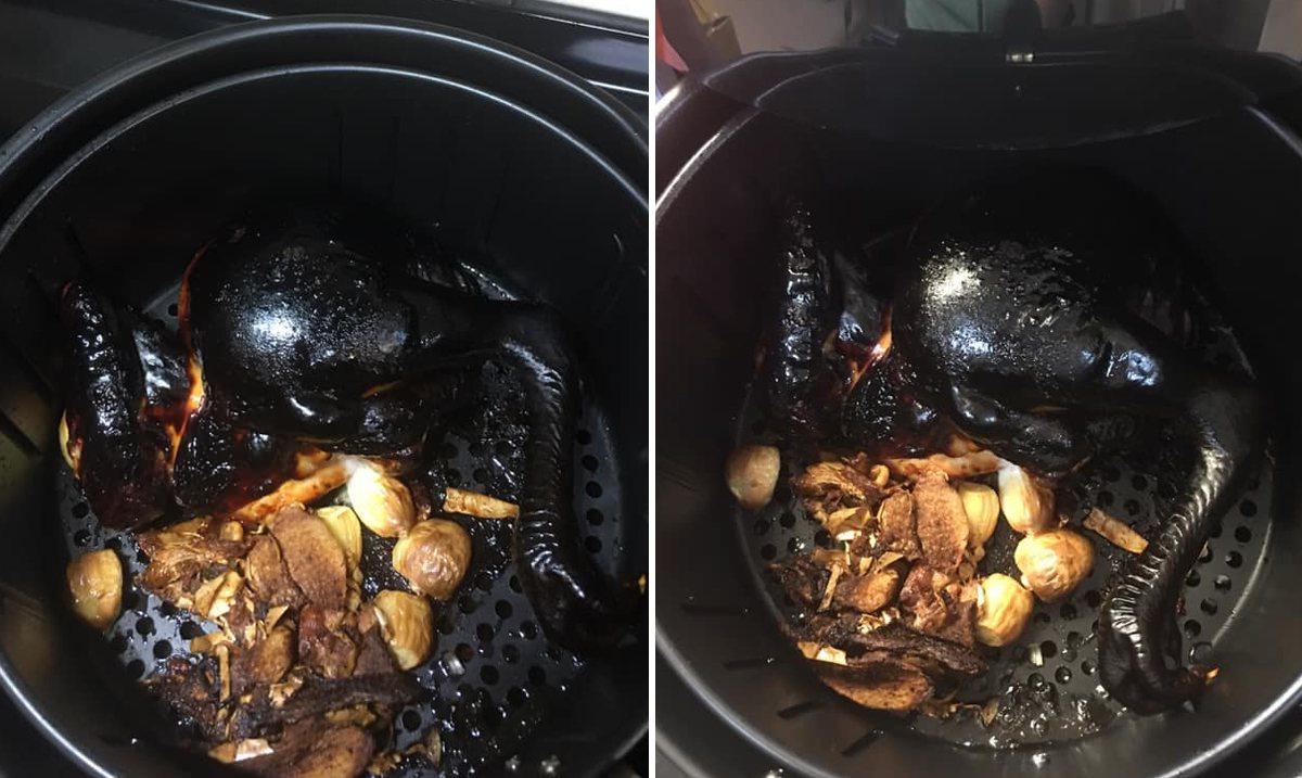 一名女網友利用氣炸鍋做烤雞,沒想到打開蓋子一看,烤雞被烤到焦黑,不仔細看還找不到...