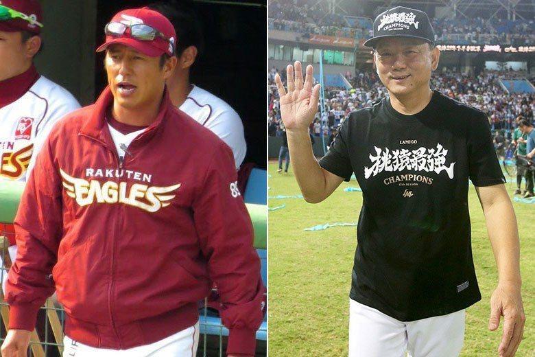 樂天旗下台日兩支職棒球隊總教練都要換人,平石洋介(左)是被解任,洪一中(右)則是被挖角。 擷圖自維基百科/Eargus攝影、聯合報系資料照片