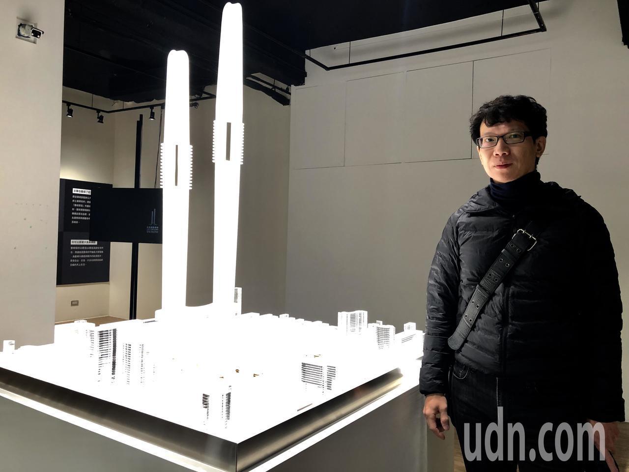 藝術家崔廣宇(見圖)在空總展出「超級進化:台北超級雙峰生態文化園區開發案」,以虛...
