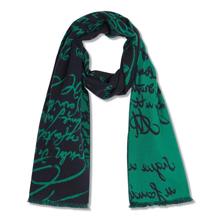 Berluti Scritto羊毛藍綠色圍巾11,900元。圖/Berluti提...