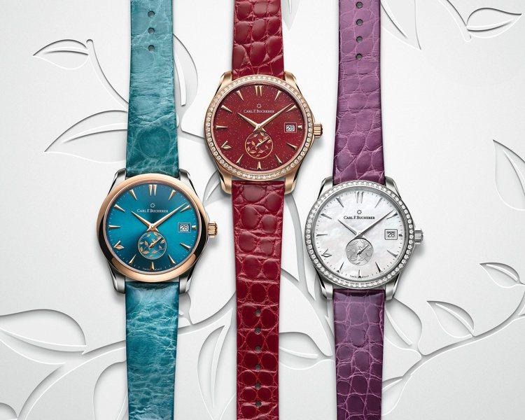 寶齊萊馬力龍系列自動日曆L.O.V.E腕表具有正紅、湖水綠與珍珠母貝三種表面,各...