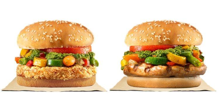 憑發票明細可兌換「義式青醬烤時蔬雞腿堡」(右)或「義式青醬烤時蔬里肌堡」(左)。...